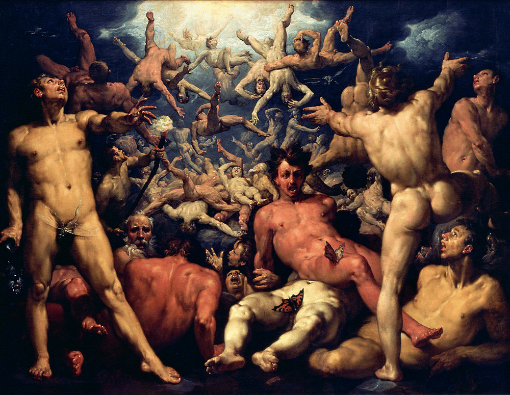 The Titanomachia as painted in The Fall of the Titans by Cornelis van Haarlem in 1588–1590