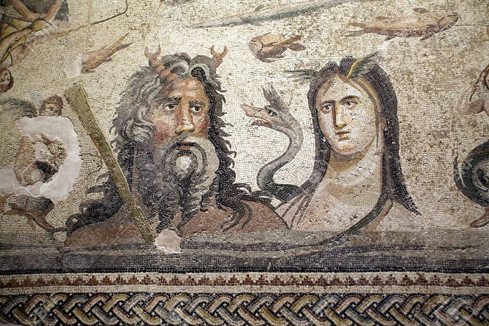 Oceanus and Tethys | Greco-Roman mosaic from Zeugma C2nd A.D. | Gaziantep Museum
