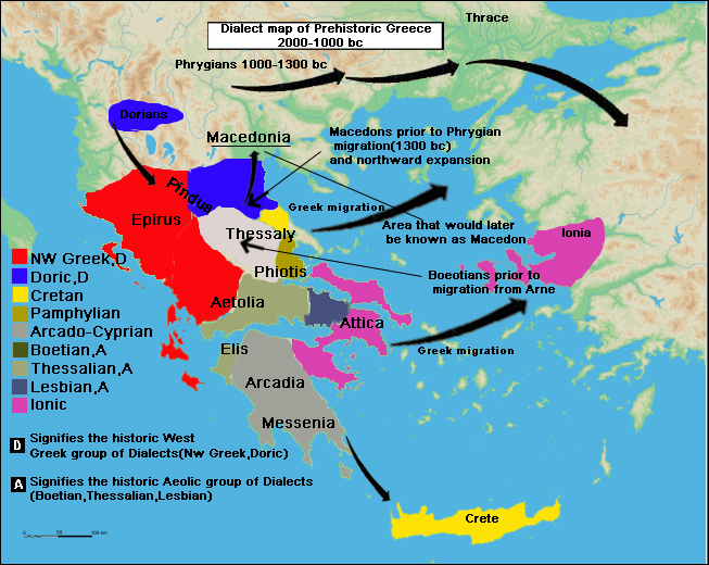 Greek Language Prehistory (2000-1000 BC), showing the complex pattern of peoples migrations and their languages and dialects