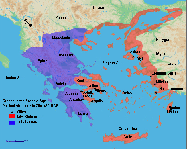 "Map of ""The archaic period in Greece (750 BC – 480 BC)"""