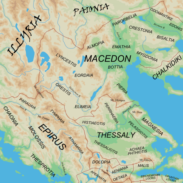 Map of the regions of Ancient Epirus and Macedonia - and adjacent barbarian lands ILLYRIA and Paionia.