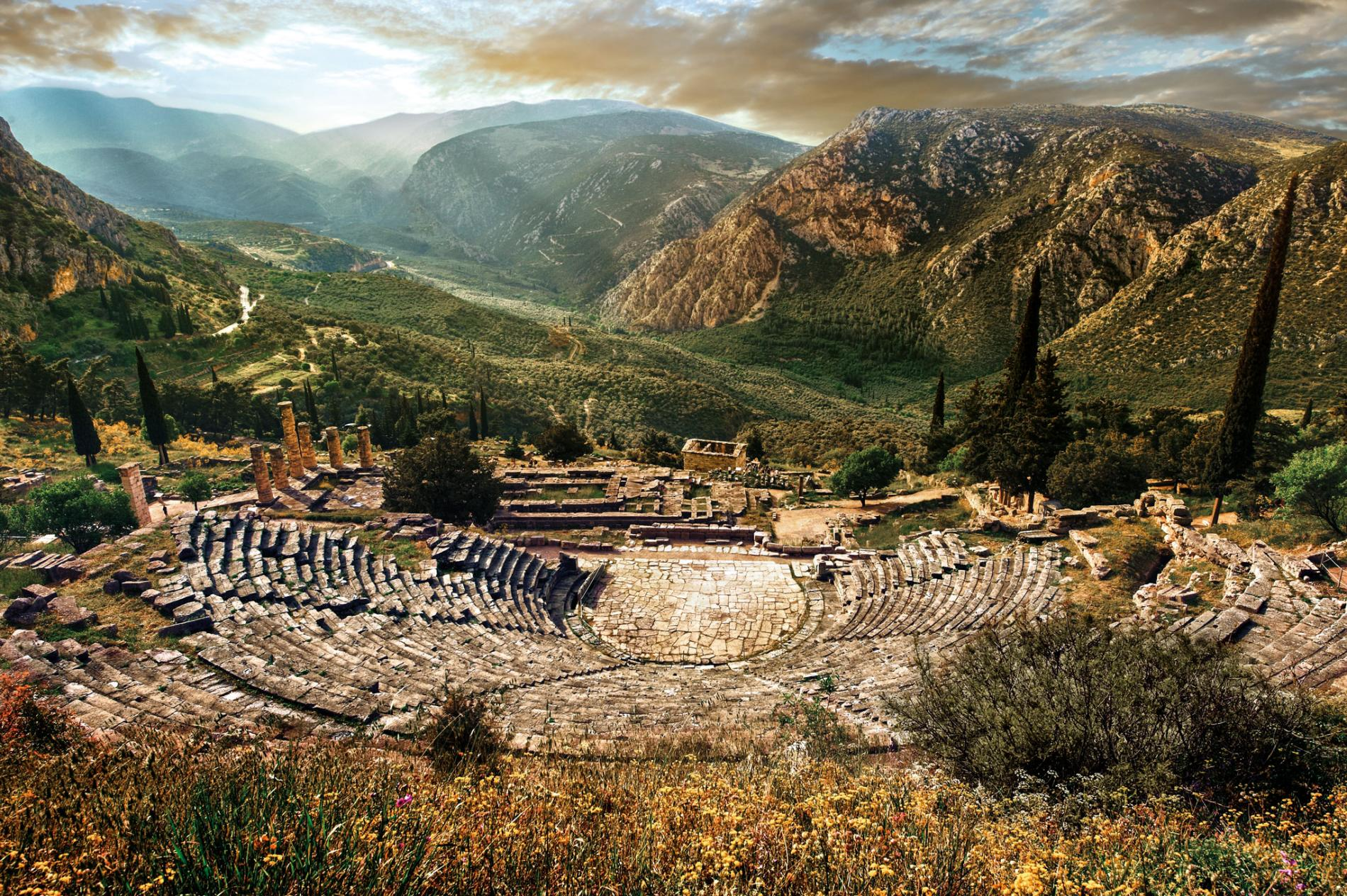 ALL THE WORLD'S A STAGE   Excavated between 1895 and 1897, the amphitheater of Delphi sits up the hill from the Temple of Apollo. A massive space, it was able to seat an audience of up to 5,000 people. Musical, poetic, and dramatic performances were staged here.   PHOTOGRAPH FUNKYSTOCK/AGE FOTOSTOCK