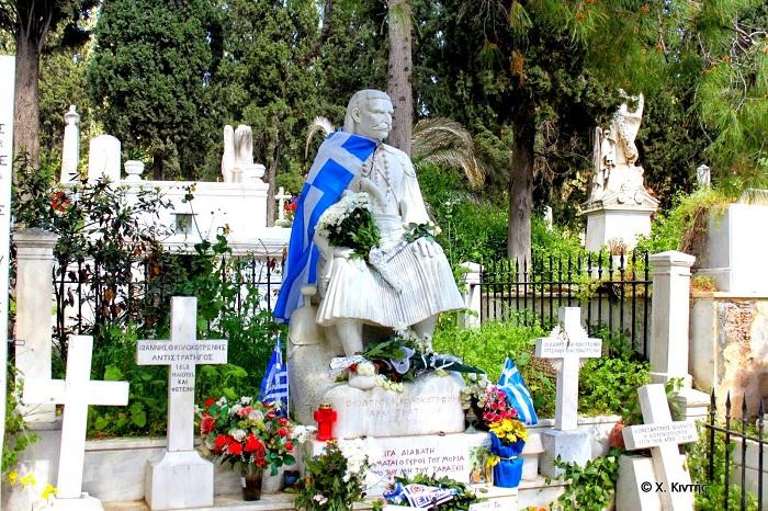 Grave of Theodore Kolokotronis  BIRTH 3 Apr 1770Regional unit of Messenia, Peloponnese, Greece  DEATH 4 Feb 1843 (aged 72)Athens, Regional unit of Athens, Attica, Greece  BURIAL  Athens First Cemetery Athens, Regional unit of Athens, Attica, Greece  MEMORIAL ID 92082028