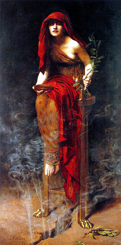 Priestess of Delphi (1891) by John Collier, showing the Pythia sitting on a tripod with vapor rising from a crack in the earth beneath her.