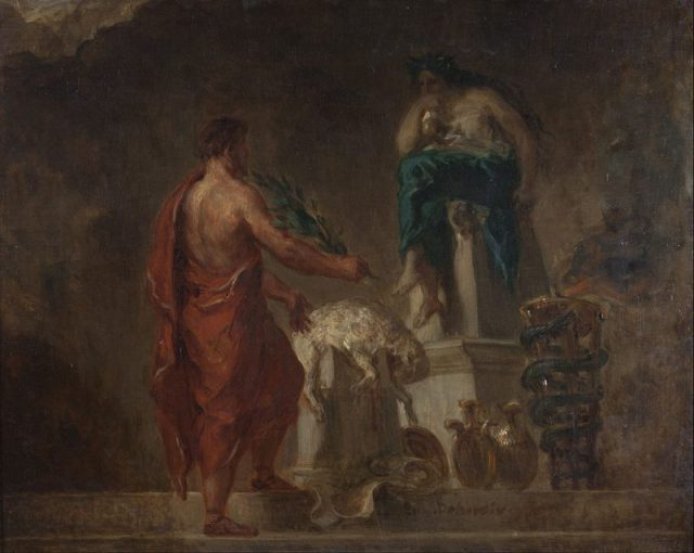 Lycurgus Consulting the Pythia as imagined by Eugène Delacroix.