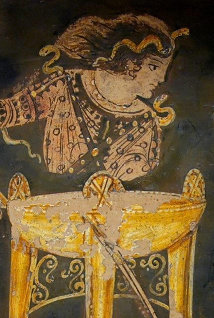 Paestan red-figure bell-krater depicting the Delphic oracle sitting atop her tripod, circa 330 BC.