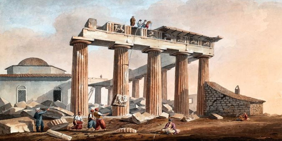 Removal of marbles from the Parthenon in 1801. Watercolor by Edward Dodwell. Packard Humanities Institute, California.