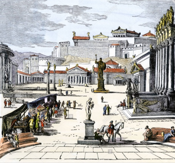 Market place of ancient Greek city-state of Sparta. Hand-colored woodcut -    Photographer:  North Wind Picture Archives