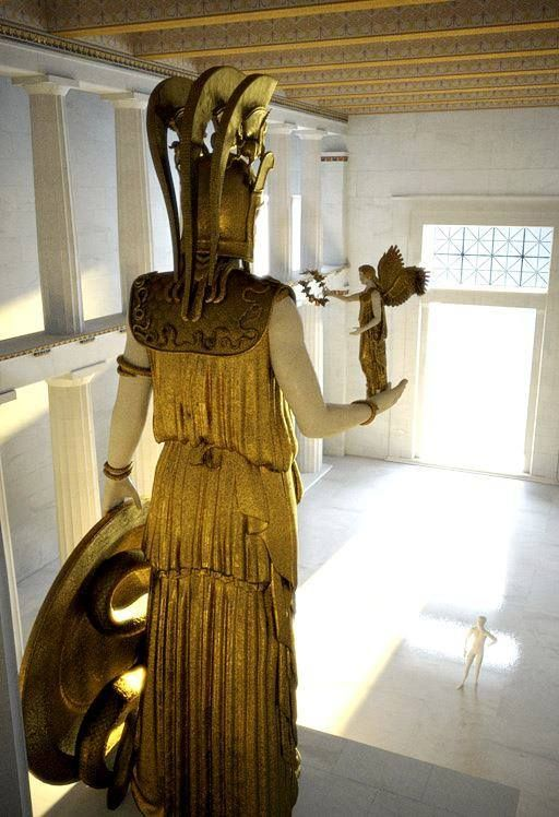 Phidias also sculpted a large statue of Athena to stand at the Parthenon – it was covered in gold and ivory - Digital reconstruction of how the Phidias Athena Parthenos might have looked.