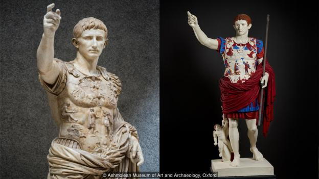 Paint would be applied directly to bronze or marble, as depicted in this recreation of the Prima Porta statue of Augustus (Credit: Ashmolean Museum of Art and Archaeology, Oxford)