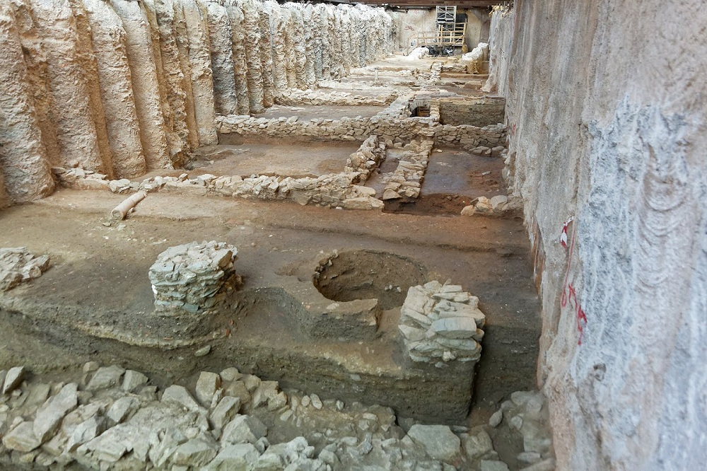 Hellenistic era building foundations, found at Agia Sophia Station, Thessaloniki  CREDIT: GREEK MINISTRY OF CULTURE