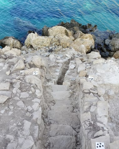 The entrance staircase from above: the sea level was much lower in the early bronze age Photograph: Michael Boyd