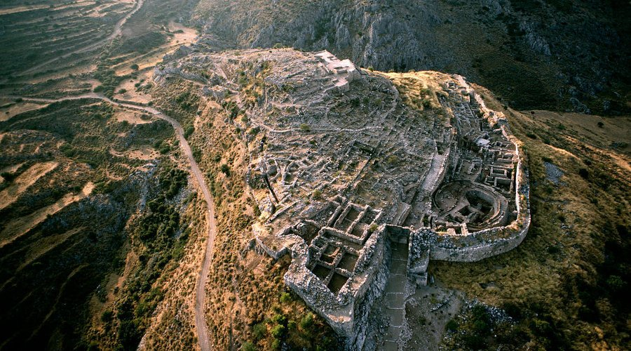 This is an aerial view of the Mycenaean ruins in Greece.     Once ruled by King Agamemnon, who fought in the Trojan War, the site is now a popular tourist destination.