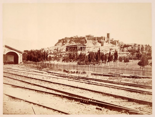Railroad with Acropolis, Greece, 1875