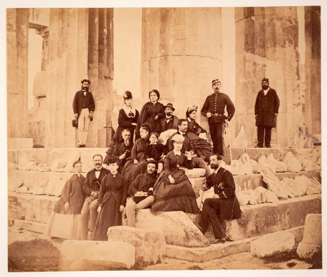 Tourists on Parthenon, Athens, Greece, circa 1860