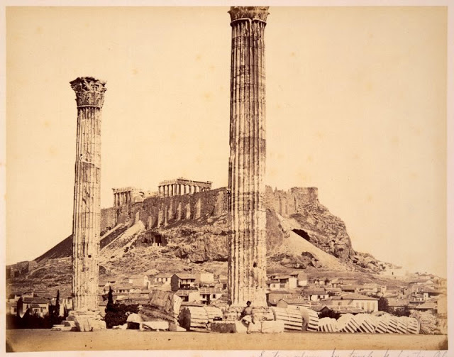 Zeus temple, Athens, Greece, circa 1860