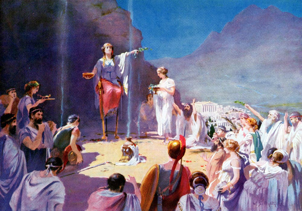 Universal History Archive/Getty ImagesPythia, the Oracle of Delphi, speaking to her subjects.