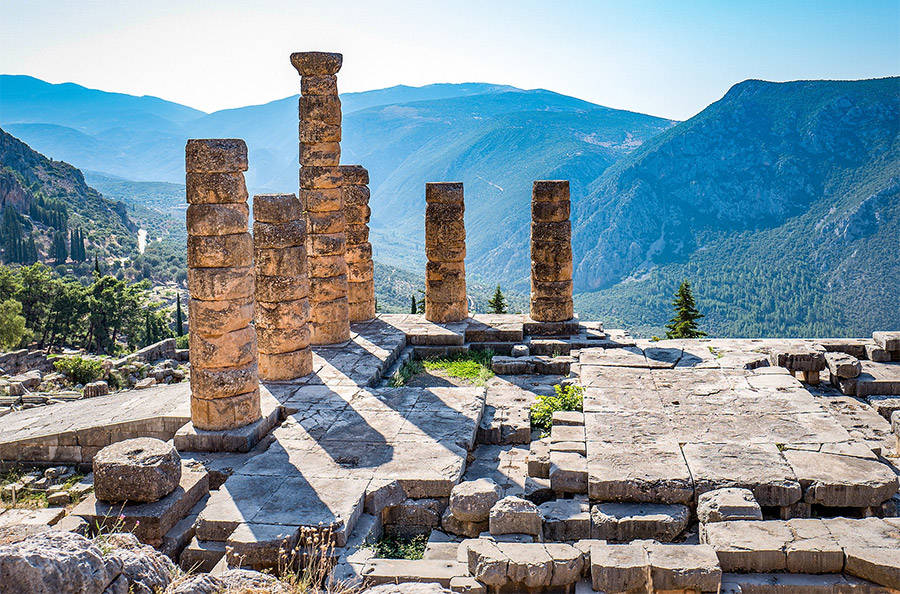 Wikimedia CommonsRuins of the ancient Temple of Apollo at Delphi, overlooking the valley of Phocis.