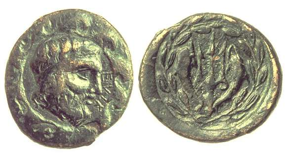Fig. 2 .Bronze coin of Classical Helike: obverse shows the head of Poseidon and inscription ELIK, reverse shows a trident flanked by dolphins. (Staatliche Museen zu Berlin)