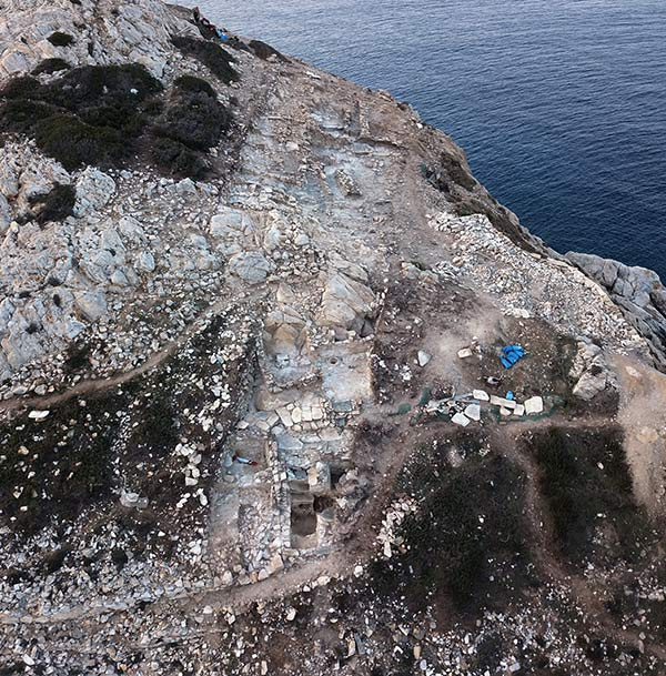 Aerial view of sophisticated prehistoric public architecture uncovered at Keros, Greece. Image credit: Cambridge Keros project