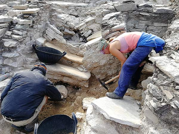 Excavation in Trench B at the staircase. Image credit: Cambridge Keros Project