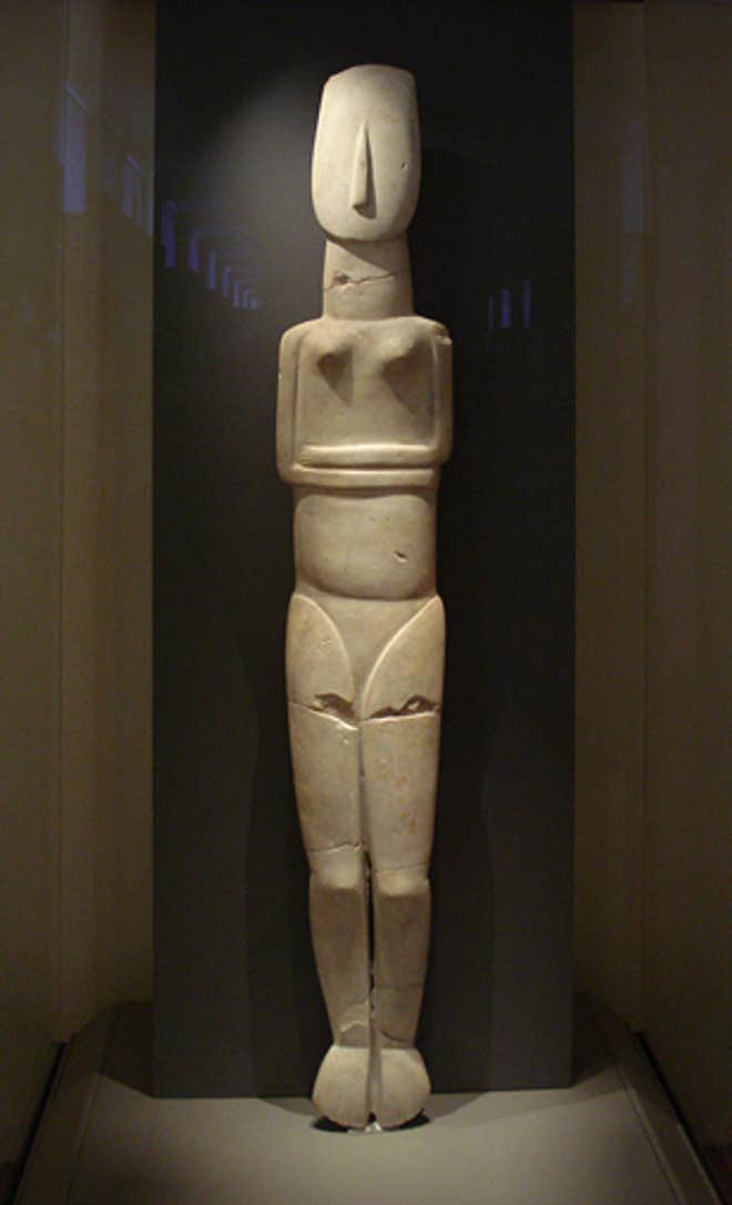 The artistic genius of a 5,600-year-old ancient culture: this 1.5m-tall marble statue is the largest known example of Cycladic sculpture (National Archaeological Museum of Athens)