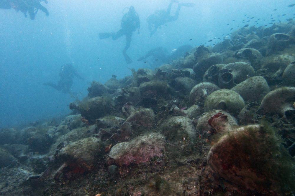 Divers visit a 5th Century B.C. shipwreck, the first ancient shipwreck to be opened to the public in Greece near the coast of Peristera, Greece. (AP Photo/Elena Becatoros)