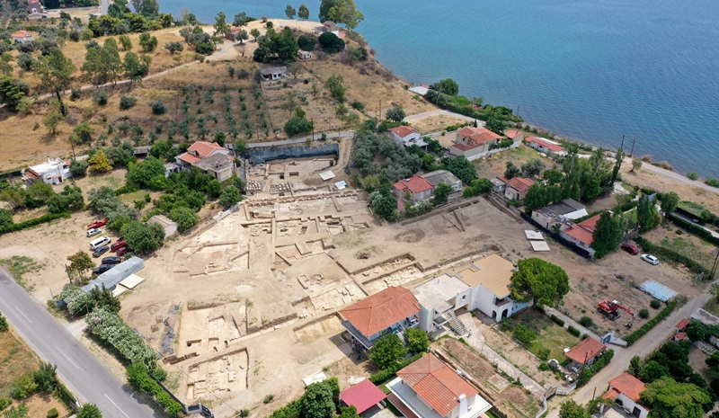 Aerial view of the excavation site in Paleochoria Amarynthos  [Credit: Hellenic Ministry of Culture]