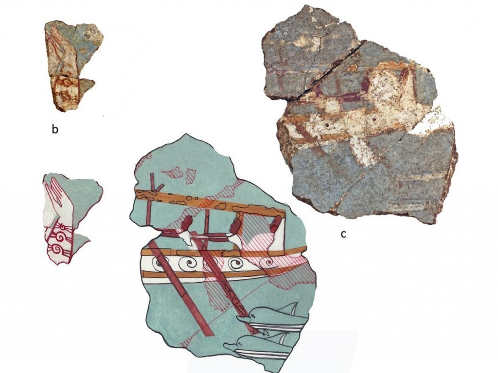 ( Fragment -right- of an ancient Greek wall painting at a site in Iklaina: The earliest naval representation from the Greek Mainland )