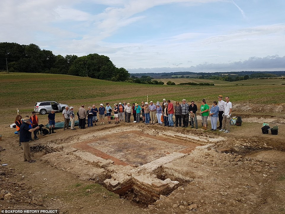 The 1,600-year-old mosaic, which was found in Boxford in 2017 but only fully uncovered recently, is one of only three of its kind in the world