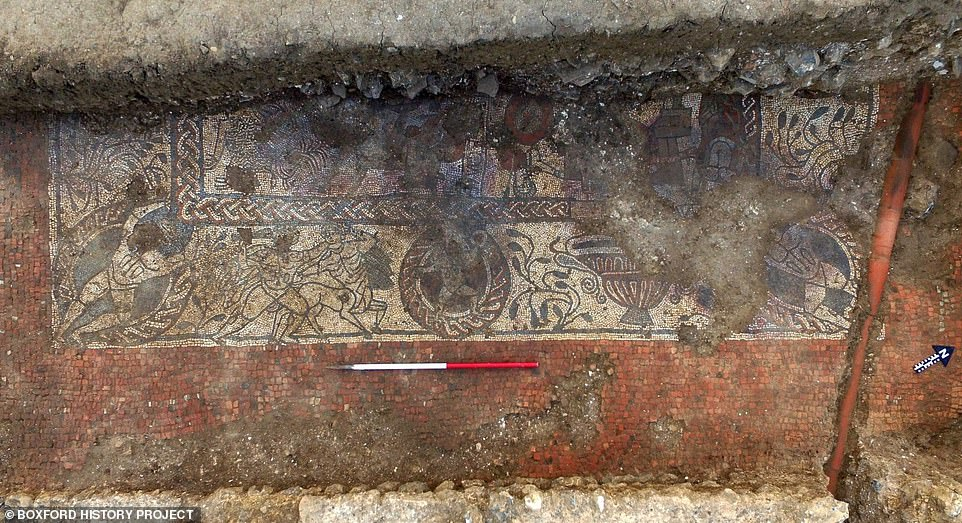 Archaeologist Matt Nichol, who worked on the dig, said the imagery and iconography on the mosaic, which is six metres long, was 'second to none'. Above: The mosaic in 2017, when it was first uncovered