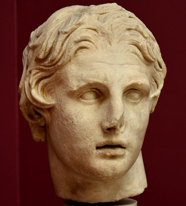 Marble head of Alexander From Pergamon,Turkey.    First half of 2nd century BC.    Istanbul Archaeological Museum.