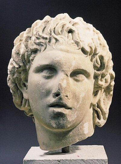 Portrait of Alexander, Marble, Pella, 3rd century B.C.   Archaeological Museum of Pella