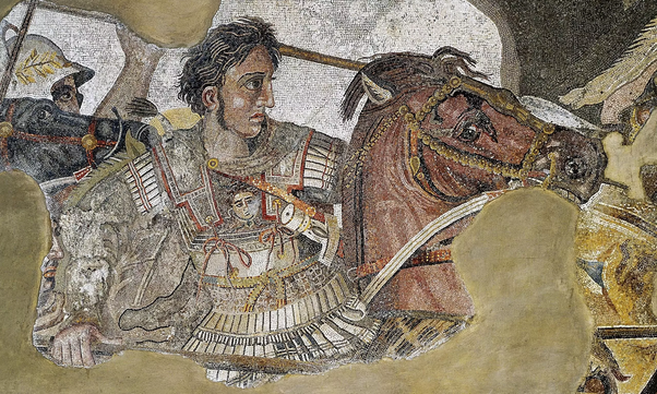 The Alexander Mosaic, dating from circa 100 BC, is a Roman floor mosaic originally from the House of the Faun in Pompeii, that is allegedly an imitation of Apelles' painting. It depicts a battle between the armies of Alexander the Great and Darius III of Persia and measures 2.72 by 5.13 metres (8 ft 11 in × 16 ft 10 in). The original is preserved in the Naples National Archaeological Museum. The mosaic is believed to be a copy of an early 3rd-century BC Hellenistic painting.