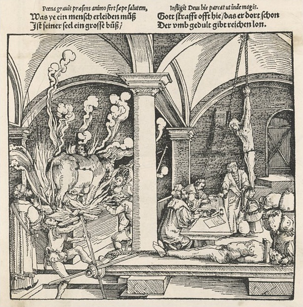 Drawing of a brazen bull by Hans Burgkmair