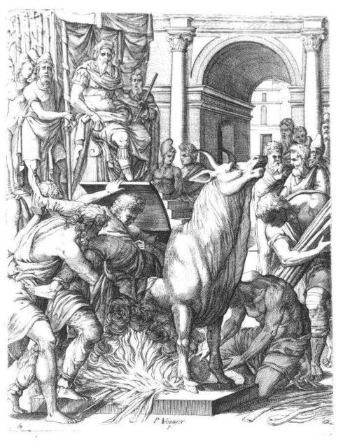 Phalaris condemning the sculptor Perillos to the bronze bull
