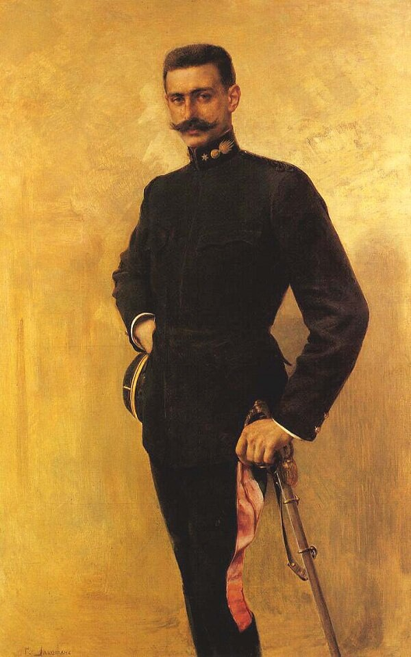 Pavlos Melas as a Lieutenant in the Greek Army. Portrait by Georgios Jakobides.