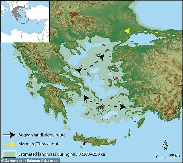 Archaeologists believed that the Aegean Sea would have proved an impassable obstacle to Neanderthals and other early hominins. The discovery of Mode III stone tools on the island of Naxos, however, suggests that these assumptions may need to be revisited. Pictured, hypothesised hominin dispersal routes in light of the new discoveries
