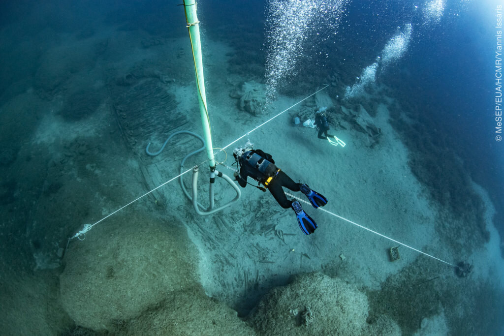 View of the shipwreck and excavation site. Courtesy of Greece Department of Sport and Culture.