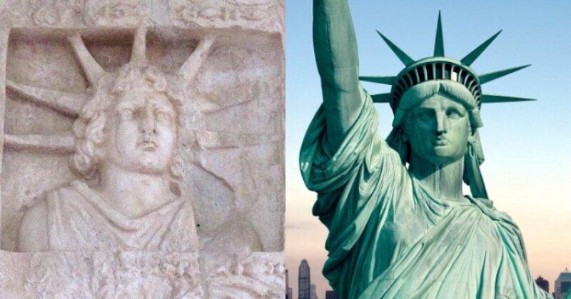Left: Statue of Apollo - Right: Statue of Liberty
