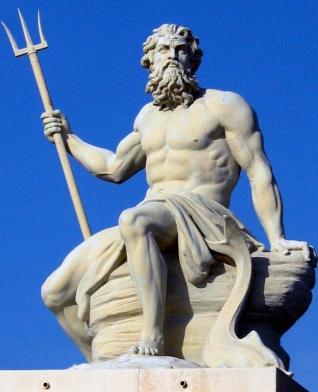 God of the seas, water, storms, hurricanes, earthquakes and horses. The middle son of Cronus and Rhea. Brother of Zeus and Hades. Married to the Nereid Amphitrite; although, as with many of the male Greek gods, he had many lovers. His symbols include the horse, bull, dolphin, and trident.
