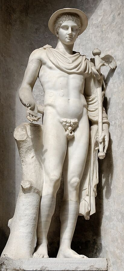 Messenger of the gods; god of travel, commerce, communication, borders, eloquence, diplomacy, thieves and games. He was also the guide of dead souls. The son of Zeus and the nymph Maia. The second-youngest Olympian, just older than Dionysus. His symbols include the caduceus (staff entwined with two snakes), winged sandals and cap, stork, and tortoise (whose shell he used to invent the lyre).