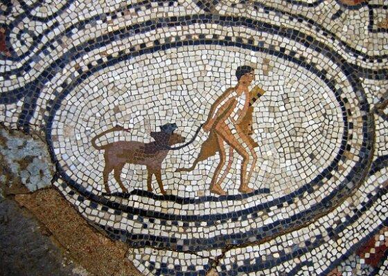 A mosaic of Hercules with pet Cerberus