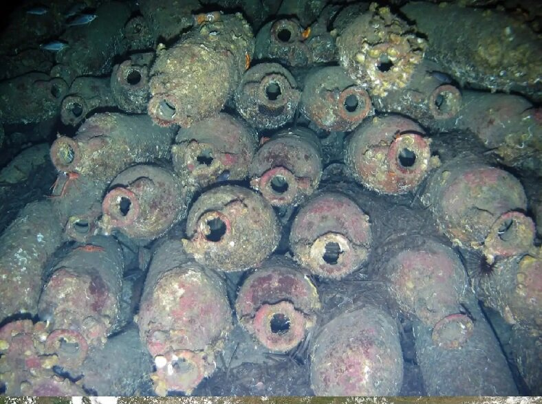Amphorae on the seabed at Ventotene.Credit: AP