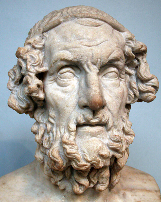 Roman bust of Homer from the second century AD, portrayed with traditional iconography, based on a Greek original dating to the Hellenistic period