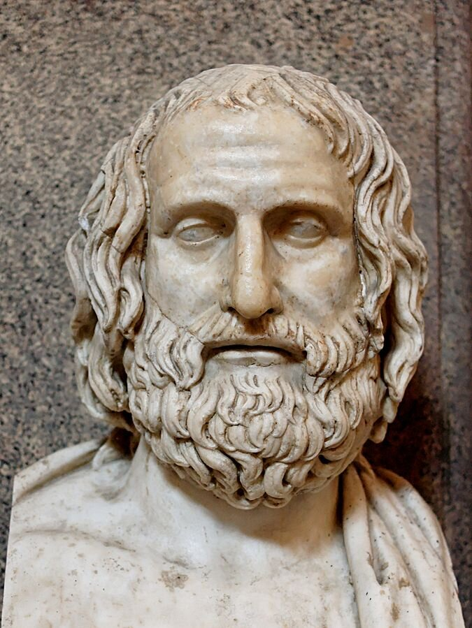 Bust of Euripides: Roman marble copy of a fourth-century BC Greek original (Museo Pio-Clementino, Rome)