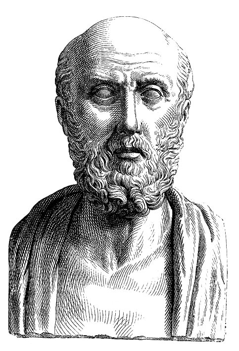 """A conventionalized image in a Roman """"portrait"""" bust (19th-century engraving)"""