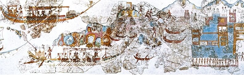 SAILING HOME: Around 3000 B.C., the Minoan civilization emerges on the island of Crete and becomes a great maritime trading power. This fresco from the Minoan settlement of Akrotiri, Santorini, depicts the return of a fleet. [SCALA, FLORENCE]