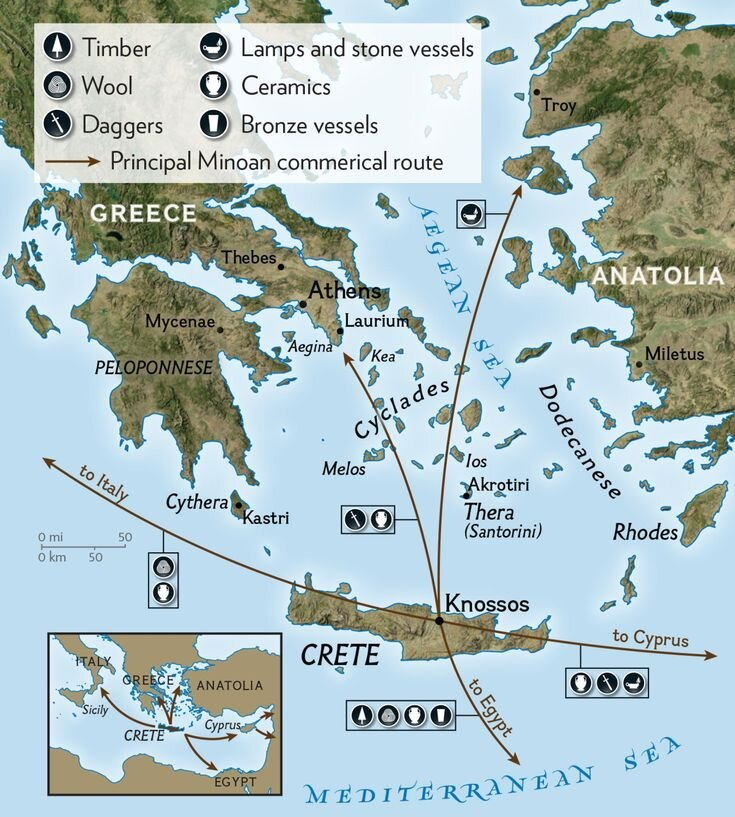 MINOAN TRADE ROUTES: Minoan influence inthe Bronze Age can be traced through archaeology. On the island of Melos there are architectural remnants, pottery, and frescoes in Cretan style, similar to those on Thera. Farther north, there is evidence of Minoan settlement i on the island of Kea. In the eastern Aegean, Minoan pottery has been found in Rhodes. Minoan artifacts and cooking equipment have been found at Miletus, a city in Anatolia that would have attracted the Cretans for its proximity to sources of metal. [NGS MAPS]