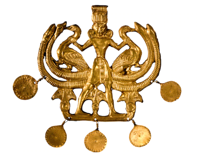The master of animals, a recurring theme in Aegean art, is depicted on this pendant featuring geese, serpents, and lotus flowers. [BRITISH MUSEUM/SCALA, FLORENCE]
